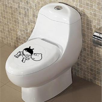 360DSC Boy & Girl Sticker Removable Seat Lid Cover ToiletClosestool Decor Waterproof Decal - intl