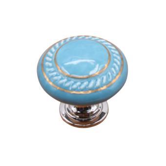 360DSC Cute Round Shape Double Circles Printing Ceramic DoorCabinet Knob Drawer Pull Handle - Blue - intl