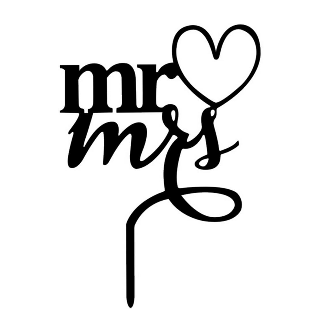 360DSC Romantic Wedding Party Cake Topper Mr. and Mrs. CakeDecoration Supplies - Black - intl