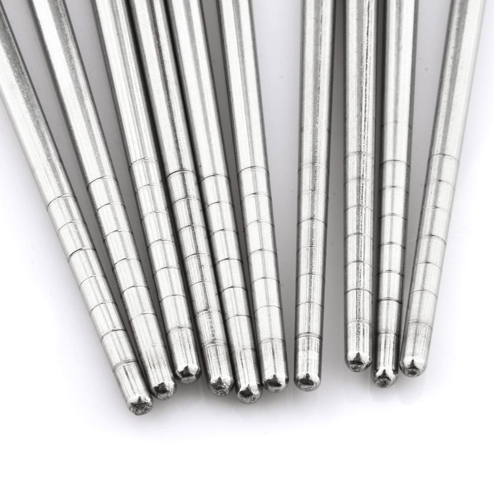 360DSC Stainless Steel Chopstick 5 Pair Per Pack Silver