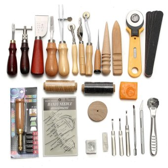 37Pcs Leather Craft Tools Kit Hand Sewing Stitching Punch Carving Work Saddle - intl