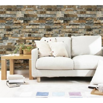 3D Antique Wallpaper Brick Pattern Coffee Shop Background RetroWall Art DIY Eco-friendly Wall Paper Sticker - intl