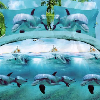 3D Bedsheet Dolphins Theme Single Queen King Fitted Sheet CoverLinen Collection Bedding Set with Pillowcase