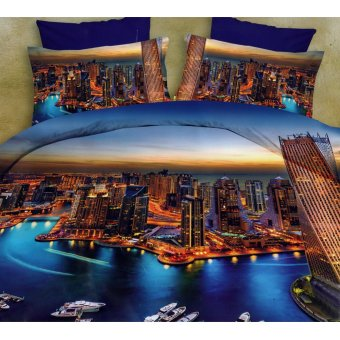 3D Bedsheet Dubai Live Theme Single Queen King Fitted Sheet CoverLinen Collection Bedding Set with Pillowcase