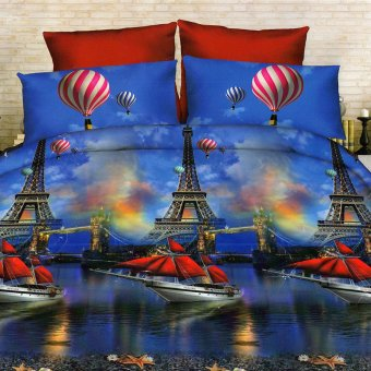 3D Bedsheet Hot Air Balloon Paris Theme Single Queen King Fitted Sheet Cover Linen Collection Bedding Set with Pillowcase