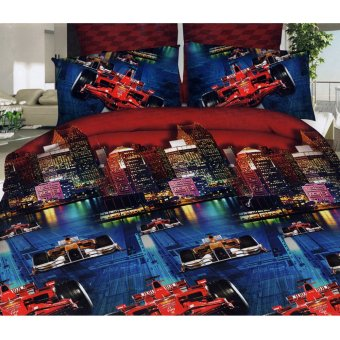 3D Bedsheet Modern Car Race Theme Single Queen King Fitted SheetCover Linen Collection Bedding Set with Pillowcase