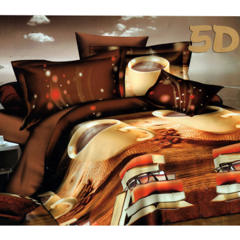 3D Bedsheet Modern Coffee Brown Theme Single Queen King FittedSheet Cover Linen Collection Bedding Set with Pillowcase
