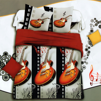 3D Bedsheet Modern Electric Guitar Music Theme Single Queen KingFitted Sheet Cover Linen Collection Bedding Set with Pillowcase