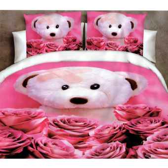 3D Bedsheet Modern Rose Bear Theme Single Queen King Fitted SheetCover Linen Collection Bedding Set with Pillowcase