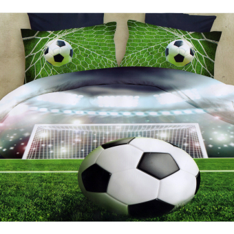 3D Bedsheet Modern Soccer Game Theme Single Queen King Fitted SheetCover Linen Collection Bedding Set with Pillowcase