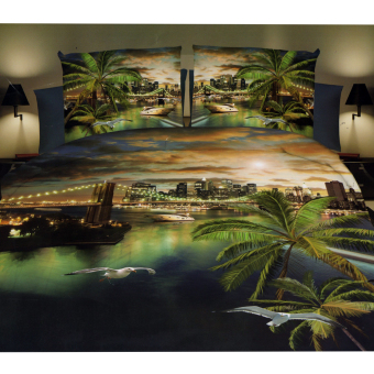 3D Bedsheet Modern Sunset Coconut Tree Theme Single Queen KingFitted Sheet Cover Linen Collection Bedding Set with Pillowcase