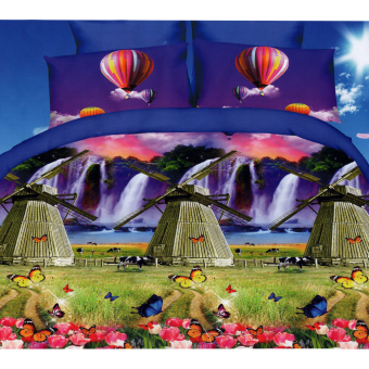 3D Bedsheet Modern Windmill Hot Air Balloon Theme Single Queen KingFitted Sheet Cover Linen Collection Bedding Set with Pillowcase