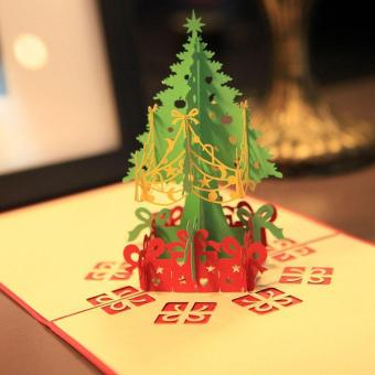 3D Merry Christmas Tree Greeting Cards Message Card ThanksgivingCard - intl