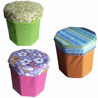 3D Ottoman Storage Chair Set of 3 (Assorted Design and Assorted Color)