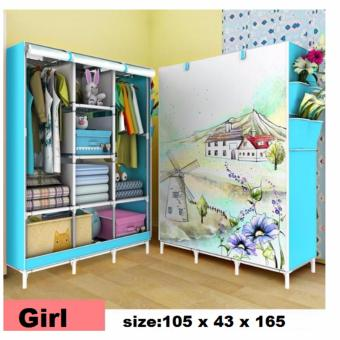 3D Pattern Non-woven folding Cloth Wardrobe Home ClosetMedium(Blue)