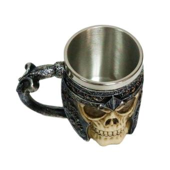 3D Skull Gothic Ossuary Style Beer Coffee Mug Striking WarriorTankard Viking Drinking Cup - 5