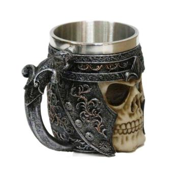 3D Skull Gothic Ossuary Style Beer Coffee Mug Striking WarriorTankard Viking Drinking Cup