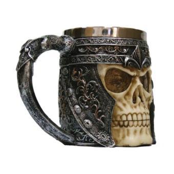3D Skull Gothic Ossuary Style Beer Coffee Mug Striking WarriorTankard Viking Drinking Cup - 4