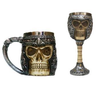 3D Skull Gothic Ossuary Style Beer Coffee Mug Striking WarriorTankard Viking Drinking Cup - 2