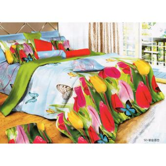 3D Tulips Butterfly Bedsheet Theme Queen Fitted Sheet Cover Linen Collection Bedding Set with Pillowcase