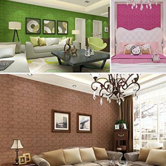 3D Wallpaper PE Foam Free DIY Light Green Wall Stickers Wall DecorEmbossed Brick Stone Soft - 3