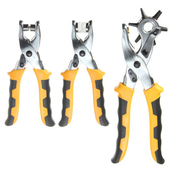 3in1 Leather Belt Hole Punch+ Eyelet Plier +Snap Button Grommet Setter Tool Kit