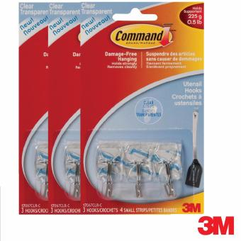 3M Command Small Clear Wire Hooks Bundle of 3