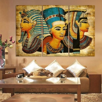 3pc Pyramid Mural - Pharaoh Modern HD Oil Painting Print on Canvas Home Wall Decoration No Framed