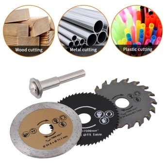 3pcs 54.8mm HSS Mini Wood Circular Saw Blade Cutting Blade RotaryTool+Mandrel - intl