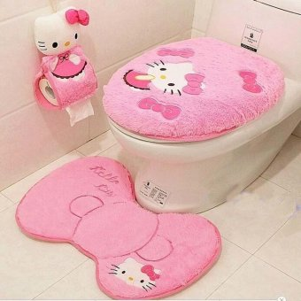 3pcs bathroom accessories toilet cover and bath mat pink for Bathroom accessories lazada
