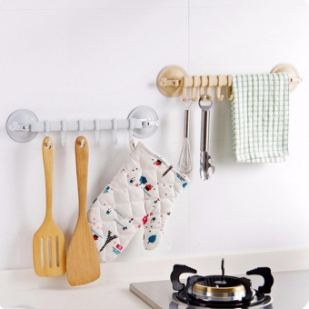 3PCS Mikey Store Kitchen Bathroom Removable Hanging Shelves VacuumSucker Towel plastic Hooks Hanger - intl - 2