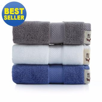 3Pcs/set 100% Soft Cotton Towel Face Cloth Bath Washcloth Set - 34x78cm - intl