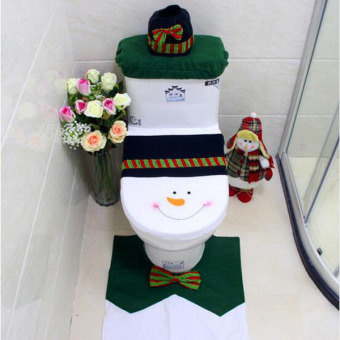 3pcs/set Christmas Snowman Warm Washable Toilet Seat Cover Flush Toilet Pads Durable Toilet Cover Set Decor