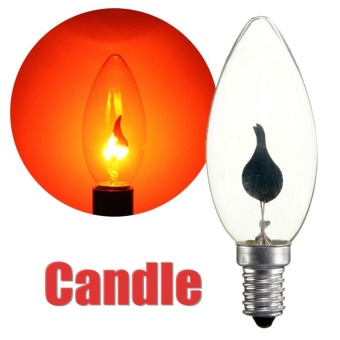 3W E14 Edsion Fire Flame Candle Tail Edison Light Bulb Lamp Chandelier Red 220V #01 - intl