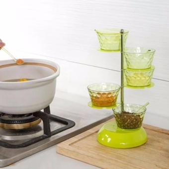 4 Layer Rotatable Seasoning Box Seasoning Jar Spice Box CondimentDispense With a Spoon For Kitchen (Transparent) - 2