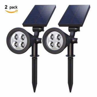 4-LED Solar Landscape Lights 180 ? Adjustable Waterproof Outdoor Security Lighting 2-in-1 Wall Lights Auto On/Off for Backyard Driveway Patio Gardens Lawn Pool ( Pack of 2) - intl