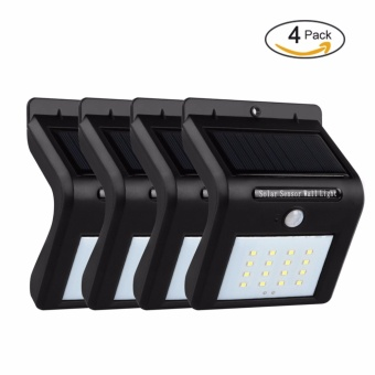 4 Pack solar lights outdoor, 16 LEDs Waterproof Wireless MotionSensor Security Wall Light, Step solar lights outdoor, for PorchPatio, Deck, Yard, Garden, Driveway, Outside Wall - intl