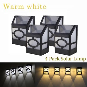 4 pack Solar wall lamp 2LEDs Solar powered LED Solar Light IP44 waterproof Outdoor Garden Yard Path Fence Lamp-Warm white - intl