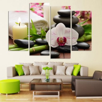 4 Panel Wall Painting HD Hot Spring Stone Bamboo Image, HomeDecorative Canvas Prints For The Sitting Room Modular picture Price Philippines