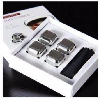 4 Pcs Cooling Ice Cubes Food Grade Stainless Steel Reusable WineCooling Cubes with Freezing Tray, Whiskey Chilling Rocks, WhiskyIce Stones and Sipping Stones