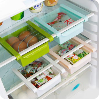 4 PCS Multi-Purpose Space-Saving Refrigerator Sliding DrawerPlastic Kitchen Fridge Storage Rack Freezer Shelf HolderOrganization