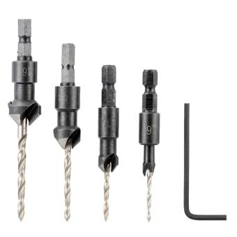 4 Pcs/set Countersink Drill Bit Set with Quick Change Hex ShankHigh Speed Steel Carbon Steel Counter Bore Woodworking Tool - intl