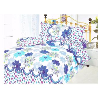 4-Piece Queen Size Bedding with Luxury Cotton Feel- Blue Bouquet Series by Manhattan Homemaker