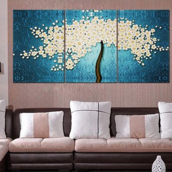 40 x 60CM 3 Pannels Frameless Beautiful Money Tree Painting Wall Art Picture Home Decoration Canvas Modern