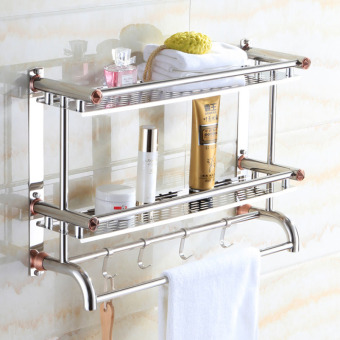 40cm*16cm*46cm,Bathroom Shelves, Two Layer Towel Holders Bath,towel Rack with Hooks Wall Mounted Double Deck , Bathroom Shelves,Stainless Steel-Intl