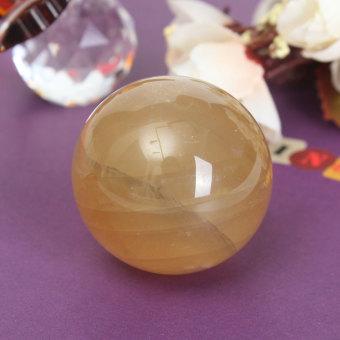 40mm Yellow Citrine Calcite Quartz Crystal Sphere Ball Healing Gemstone Decor - intl - 3