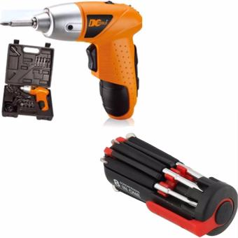 45 Pcs Set Compact No Noise Cordless Rachargeable Drill Screwdriver With 8 in One Multi-Screwdriver with LED Torch (Black/Red)