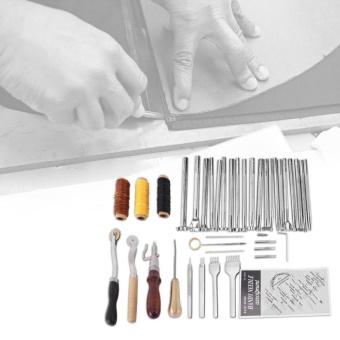 48Pcs Leather Craft Hand Tools Kit for Sewing Stitching PunchCarving Work - intl
