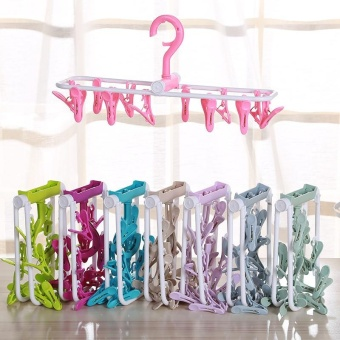 4ever Plastic Folding Hanging Dryer 12 Clips Laundry Kids Clothes Underwear Socks Towel Clothespin - intl