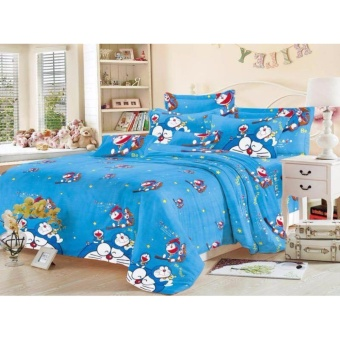 4in1 BedSheet Cotton Animated Doremon Design ( 2 pcs Pillow Case ,1 pcs Fittedsheet and 1 pcs Beadsheet)-Single